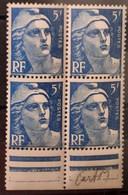 France/French Stamp 1945-47 N°719B Bleu Bloc De 4 BdF Papier Carton ** TB - Ongebruikt