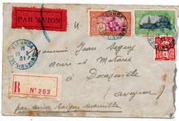 Cochinchine  - Enveloppe Départ Bienhoa -  Pour Decazeville  10/6/31   Abimée - Briefe U. Dokumente