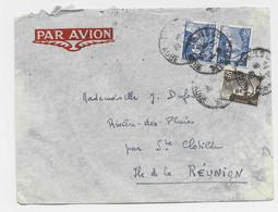 GANDON 10FR BLEUX2+ 3FR BRUN LETTRE AVION TROYES 9.4.1946 POUR ST CLOTILDE REUNION AU TARIF - 1945-54 Marianne (Gandon)