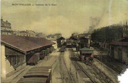 Montpellier Interieur De La Gare Colorisée Recto Verso - Montpellier