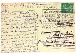 PARIS St Lazare Carte Semeuse Yv 159 Ob Meca Jeux Olympique 1924 C6209 Réexp Aix Les Bains Daguin Aix301 Poste Restante - Covers & Documents
