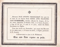 ANVERS VAN WTBERGHE Marie Anne épouse VERSCHAEREN  69 Ans 1835 Avis Mortuaire Carton A5 - Overlijden