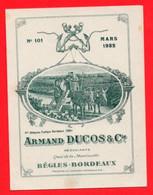 1 Carte Pliante Armand Ducos & C° Quai De La Moulinette Bègles  Bordeaux 1932 Tarif De Vin - Wine