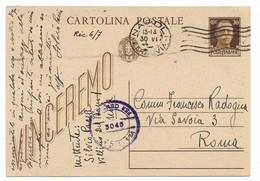 DA NAPOLI A ROMA - 30.6.1944 - CONTROLLATA DALLA CENSURA. - Stamped Stationery