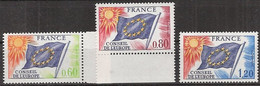 France - YT 46 à 48 (1975) Conseil De L'Europe. Drapeau. Type De 1958-59 Neuf** - Nuevos