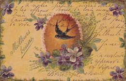 Oiseaux : HIRONDELLE : Et Fleurs : Gaufrée : Meilleurs Baisers - Birds