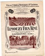 1 Carte Pliante Prix Courant 1936 Limouzy Fils Aîné Narbonne Au Les Vins De France Coopération Roquette  St Mamert Gard - Wine