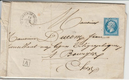 """RARE LPC 3051 St-Martin-de-Seignaux + RR Cahet De Facteur A """"carré"""" Sur N°14B TBE - 1853-1860 Napoléon III"""