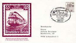 BRD, PU 111 B2/010, BuSchl. 40, Nürnberg, Eisenbahn, Lok. - Private Covers - Used