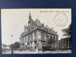 CPA Saint-Denis Hôtel De Ville Cachet à Date Poste Rurale Automobile Auxerre Yonne CP N°2 - Manual Postmarks