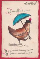 AC505 FANTAISIES OISEAUX HABILLES HUMANISES POULETTE POULE OMBRELLE DESSIN  PAILLETTES - Birds