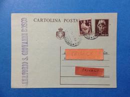 STORIA POSTALE ITALIA REPUBBLICA CARTOLINA POSTALE 1,20 IMPERIALE + 2 LIRE DEMOCRATICA MISTA 5-6-46 - 1946-60: Marcofilie