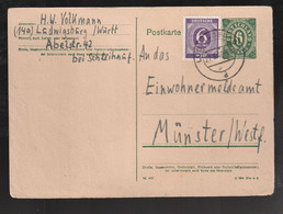 "Bizone - 1946 - Postkarte Mi. P 901 Stegstempel ""Ludwigsburg"" (E297) - Bizone"