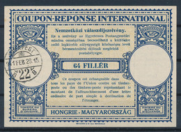 HONGRIE / UNGARN  -   1941  ,  Type Lo12   -    64 FILLER   -  Reply Coupon Reponse    -  467 - Enteros Postales