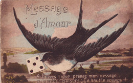 Oiseaux : HIRONDELLE : Messagère : Message D'Amour  : édit. A. H. Katz - J. K. N° 2142 - Pájaros