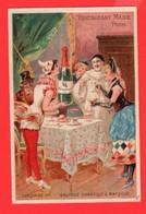 6 Chromo Restaurant Maire Paris Cardinal Aÿ  Caves Maire  Champagne Charbonnier Mousseux 1878 Pierrot Harlechino - Wine