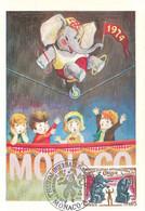 """MONACO-CARTE MAXIMUM PREMIER FESTIVAL INTERNATIONAL DU CIRQUE 1974 """"Dressage D'éléphants"""" - Maximum Cards"""