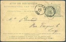 Avis De Réception E.P. Carte 10 Centimes Obl. ScCOURTRAI 13 Avril 1899vers Liège. Au Verso : Cachet FerroviaireCOURTR - 1895-1913