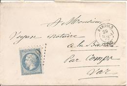 VAR (78) ENV De BARJOLS OBLI GC 320 Sur NAP Pour LA BASTIDE Par COMPS VAR - 1849-1876: Classic Period