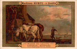 """Chromo Pub """" Machines à Coudre Hurtu """" Sewing Machine Musée Du Louvre Chevaux Attachés .... Horse En B.Etat - Altri"""