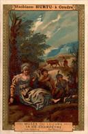 """Chromo Pub """" Machines à Coudre Hurtu """" Sewing Machine Musée Du Louvre La Vie Champêtre En B.Etat - Altri"""