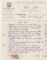 Pyrenees Orientales Prades 66500 Facture Sors Jean 22 Rue De L'industrie Prades Serrurerie Artistique - 1900 – 1949