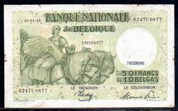 560-Belgique 50fr 1945 6247U0877 - 50 Francs-10 Belgas