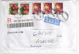 Beaux Timbres , Stamps ( Fleurs , Fruits) Sur Lettre Recommandée , Registered Cover Pour La France - Brieven En Documenten