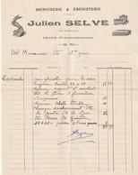 Pyrenees Orientales Prades 66500 Facture Julien Selve Menuiseri & Ebenisterie Rue Jean Jaures Prades - 1900 – 1949