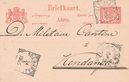 Nederlands Indië - 1905 - 5 Cent Cijfer, Briefkaart G14 Van VK Weltevreden Naar Kendangan - Particulier Bedrukt Visser - Indes Néerlandaises