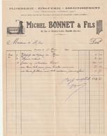 Pyrenees Orientales Prades 66500 Facture Michel Bonnet Plomberie 20 Rue Du Palais De Justice  Prades No 2 - 1900 – 1949