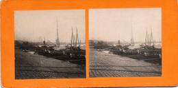 Photos Stéréoscopiques  BORDEAUX  BATEAUX A QUAI PASSERELLES  état  Dans Son Jus  Année 1900 - Stereoscopio