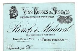 Anno 1880 Une Carte Porcelaine & 9 Etiquettes Muscat VIEUX De Frontignan Hérault VIN NOEL Rouch RAYMOND MALAVAL - Zonder Classificatie