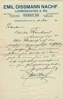 """LUDWIGSHAFEN Rhein 1921 Alte Rechnung """" Firma Emil Dissmann """" Facture - 1900 – 1949"""