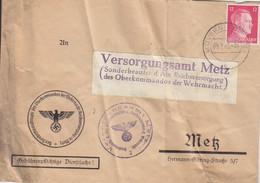 Lettre Pré-imprimée (Oberkommandos...) De Moyeuvre (T329 Mövern Westmark B), TP Hitler 12pf Le 9/2/43 - Elzas-Lotharingen