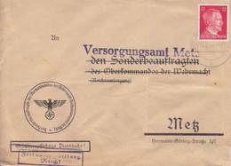 Lettre Pré-imprimée (Oberkommandos...) De Moyeuvre (T329 Mövern Westmark B), TP Hitler 12pf Le 14/6/44 - Elzas-Lotharingen