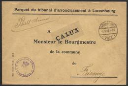 Luxembourg / Luxemburg Lettre En Franchise Parquet Du Tribunal Au Maire De Frisange 06.09.1923 - Briefe U. Dokumente