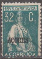 "AÇORES-1924-1928, Tipo «CERES». Selos Do Cont. C/ Sobrec. "" AÇORES "" 32 C.  D. 12x11 1/2 ( P. Liso )   (o) Afinsa Nº 204 - Azores"