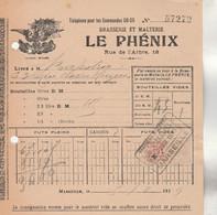 Bon Livraison 5/8/1919 Brasserie Et Malterie LE PHENIX à MARSEILLE Timbre Fiscal 2 Scan Voir Verso Bière - 1900 – 1949