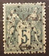 Type SAGE Yvert No 75 , 5 C Vert Obl Cachet JOUR DE L'AN,  DOUBLE ANCRE , TB Centrage TTB - 1876-1898 Sage (Type II)