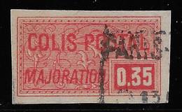 COLIS POSTAUX NON DENTELE N° 25 35 C. ROUGE OBLITERE COTE 2,50 € - Usados