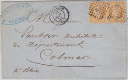 Frankreich - 2x10 C. Napoleon Geschnitten Brief Besancon Colmar 1858 - Unclassified