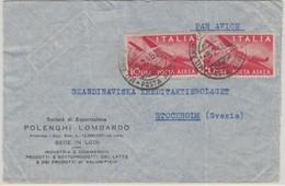 Italien - 2x10 L. Flugpost Luftpostbrief N. SCHWEDEN Milano - Stockholm 1946 - Unclassified