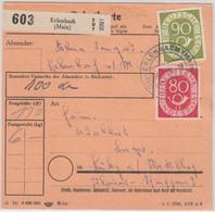 BRD - 90+80 Pfg. Posthorn Paketkarte Erlenbach Lübz/DDR 1954 - Covers