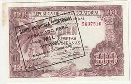République De Guinée Écuatorial - 100 Pesetas - Billet Neuf Du 12 Octobre 1969 - Tampon Du 21 Octobre 1980 - Equatorial Guinea