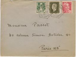 AFFRT GANDON DULAC CHAINES TARIF 4.50F LETTRE OBLITERATION AGENCE POSTALE GUEBRIANT 4/1/47 - BONNE DATE - 1921-1960: Moderne