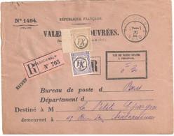 VALENCIENNES Nord Ob 1920 Enveloppe Valeurs Recouvrées Formule 1494 ENTIERE Taxe 44 45 Ob XI Etiquette Reco - 1859-1955 Covers & Documents