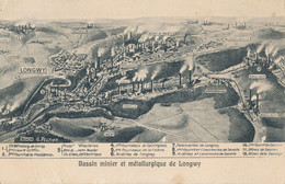54) LONGWY : Carte Du Bassin Métallurgique Et Minier (dessin G. Peltier) (1911) - Longwy