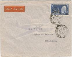 25F ABBAYE ST WANDRILLE SURCHARGE 8F CFA LETTRE AVION FRANCE 16/01/51 - Storia Postale