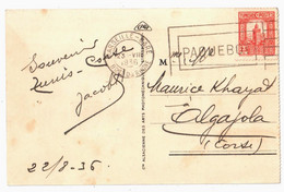 MARSEILLE GARE Bches PAQUEBOT Ob Mécanique Frankers Sur Timbre Tunisie 25c Mosquée Yv 168 Ob 1936 Dreyfus MAR810 - Covers & Documents
